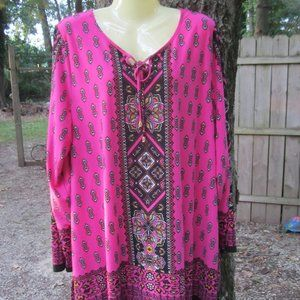 Catherines 1x 18W 20W pink patterned top blouse